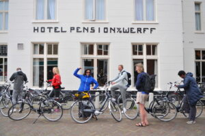People in front of Hotel van der Werff on Schiermonnikoog
